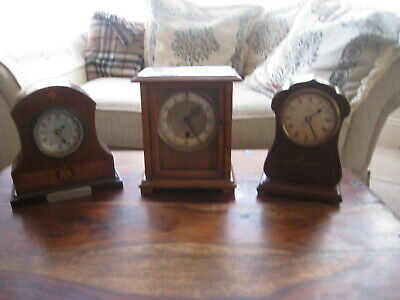3 Vintage Mantle Clocks Converted To Battery Movements All Vgc