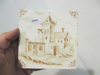 Antique Ceramic Tile Vintage French Village Boats River Windmill Nature Fishing