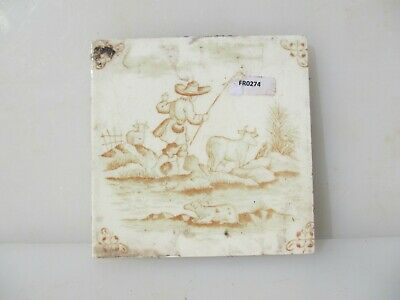 Antique Ceramic Tile Vintage French Village Farmer Cows Countryside Old