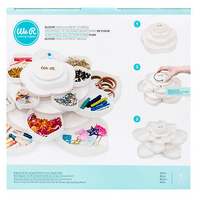 American Crafts We R Memory Keepers Bloom 3-Tiered Embellishment Storage - White