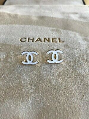 STAMPED Chanel CC Gld Tone / White Enamel Chanel re-purposed button studs.