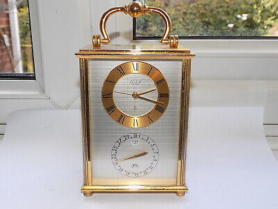 Very Rare 1973 Imhof Brass 8 Day Carriage Alarm Clock With Perpetual Calendar
