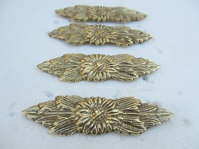 Brass Flower Ormolu Furniture Hardware Gold Mount Clover Flower Antique STYLE 2""