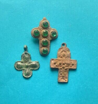 Lot of 3 Medieval Cross Pendants Viking and Byzantine Era VI-XII A.D.