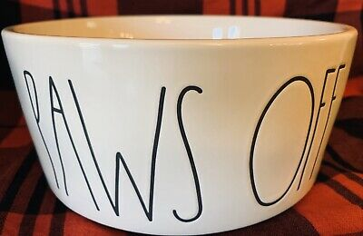 New Rae Dunn Magenta PAWS OFF Dog Dish Dog Bowl White Tall Black Letters LARGE