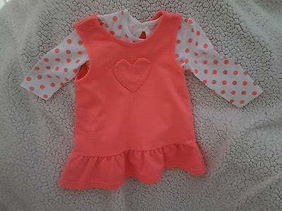 Girls - Pink/White Pinafore Dress +Top - Age 3-6 Months