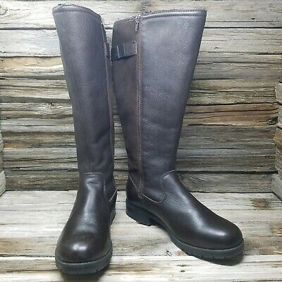 Clarks Cishion Faralyn May Riding Boots Leather Dark Brown Womens US 9 W WIDE