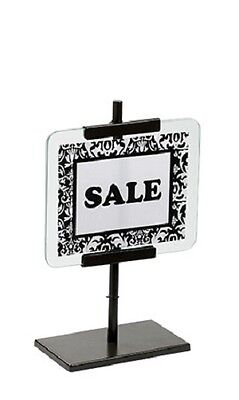 "2 Sign Holders 5"" ½ x 7"" Signs Bronze Retail Store Sale Metal Glass Countertop"