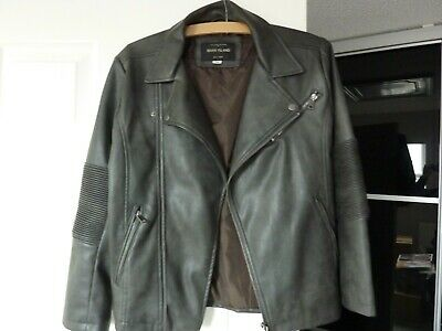 New Grey River Island boys biker style faux leather jacket 11 years