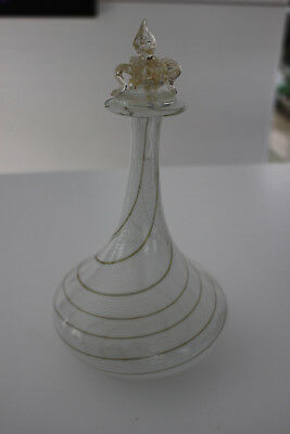 Murano Style twisted Cane Glass Bottle with Stopper - Beautiful