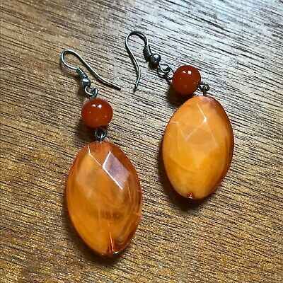 Estate Orange Plastic Faceted Oval & Smooth Round Bead Dangle Earrings for Pierc