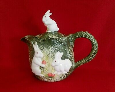 Green & white Lettuce TEAPOT with Bunnies * ceramic * hand-painted