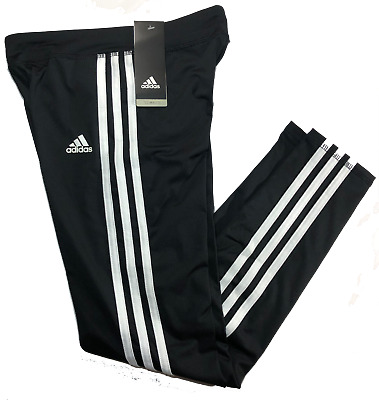 NWT Girls Adidas 3 Stripe Leggings - Black/White - Size M