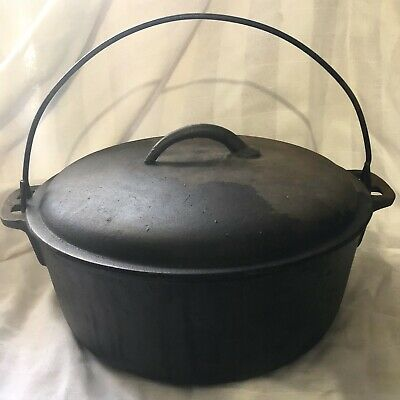 Cast Iron 5 Quart Dutch Oven With Self Basting Lid And Wire Handle