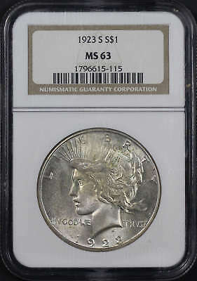1923-S Silver Peace Dollar NGC MS-63 -156051