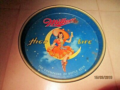 "Vintage 1950's MILLER HIGH LIFE, ""GIRL ON THE MOON  Tavern Tray"