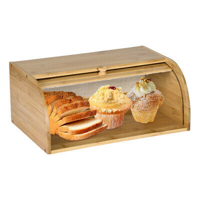 Natural Bamboo Roll Top Bread Box Kitchen Bin Cafe Food Storage Snack Keeper US·
