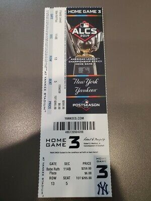 Yankees Astros ALCS Game 5 - MINT Ticket 10/18/19 2019 MLB Playoffs Stub