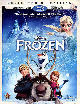 Frozen (Blu-ray/DVD, 2014, 2-Disc Set, Walt Disney) No Digital Copy - Olaf, Elsa