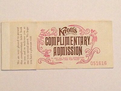 1977 Knotts Berry Farm Complimentary Ticket Book W/3 Of 5 Tickets - 6950