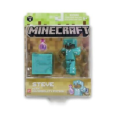 Minecraft Steve with Invisible Potion Pack Series 4 Action Figure Diamond Armor