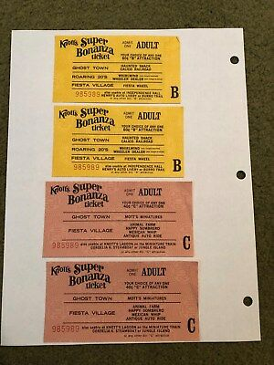 4 Knotts Berry Farm Adult B&C Ride Tickets With The Same Serial Numbers - 6310