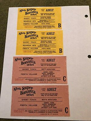 4 Knotts Berry Farm Adult B&C Ride Tickets With The Same Serial Numbers - 6312
