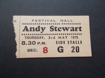 Ticket 1973 Andy Stewart Festival Hall Melb