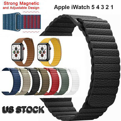 US Magnetic Leather Watch Band Loop Wrist Strap For Apple Watch Series 5 4 3 2 1