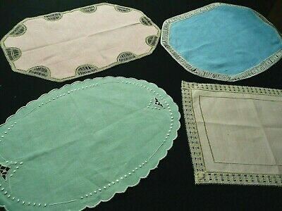 1 Lot De 4 Anciens Grands Napperons De Couleurs Avec Decors Differents