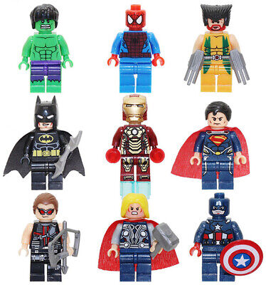 9x Marvel Avengers Super Hero Comic Mini Figure Set DC Minifigure Toy Fits Lego