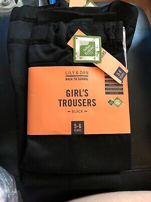 Girls Black Trousers Age 5-6 New With Tags X 2