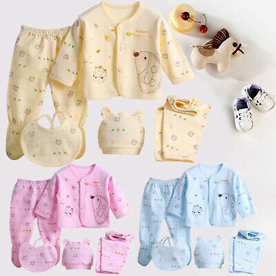 5Pcs/set Lovely Printed Cotton Baby Kids Newborn Winter Outfit Toddler Pjs Suit