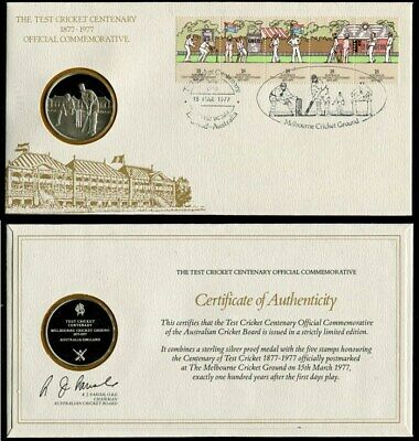 Australia: 1877-1977 The Test Cricket Centenary PNC, .925 SILVER medal
