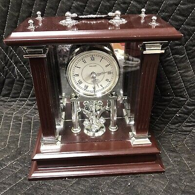 WALLACE SILVERSMITHS Wooden Mantle Clock - Clock Works - Pendulum Does Not Work