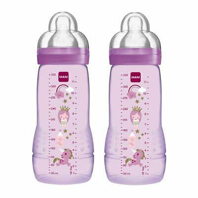 MAM Easy Active Baby Bottle Each With MAM Fast Flow Teats Twin Pack Of Baby