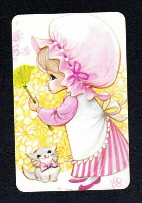 Vintage Swap Card - Cute Girl with Duster (BLANK BACK)