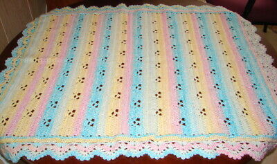 """Hand Crocheted Baby Blanket Pastel Colors 28"""" By 32"""""""