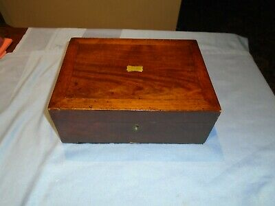Antique Mahogany Wood Sewing Box Desk Top Writing  Box  Jewellery Box With Tray