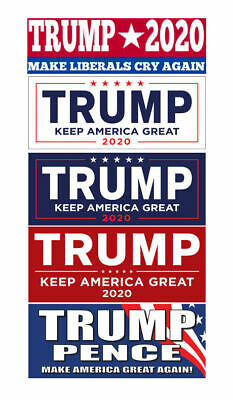 Donald Trump 2020 For President Set Collection of 5 Bumper Stickers