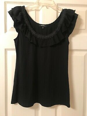 Women's Express Fashion Black Sleeveless Pullover Ruffle Tank Top Nwot Size Med.