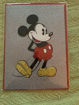 PAPYRUS DISNEY GLITTERY STANDING MICKEY MOUSE BLANK ANY OCCASION CARD NWT