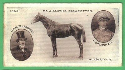 F&J Smith Cigarette Card – Derby Winners - No 2 Gladiateur (1913)