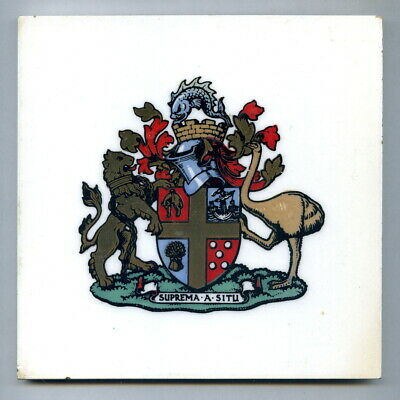 """Screen printed 6"""" tile Wellington NZ Coat of Arms by Purbeck Dec Tile Co, 1953"""