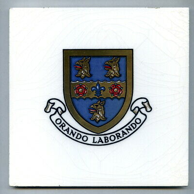 """Screen printed 6"""" tile Rugby School Coat of Arms by Purbeck Dec Tile Co, 1953"""