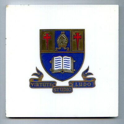 """Screen printed 6"""" tile Arms of Marlborough College by Purbeck Dec Tile Co, 1953"""