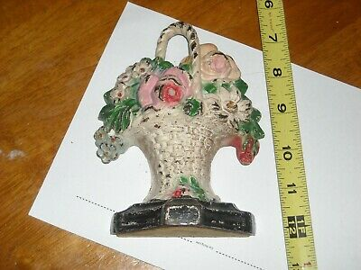 ANTIQUE CAST IRON DOOR STOP-NO. 8 - White BASKET WITH MULTI COLOR FLOWERS