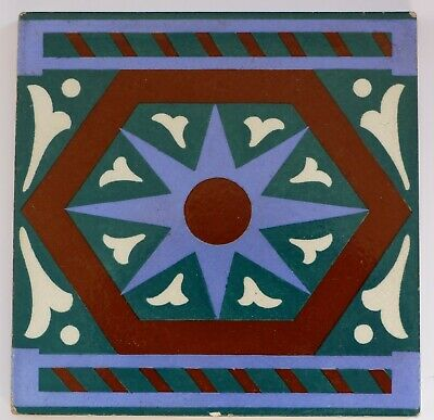 """Rare, early screen printed 6""""sq tile by Brown-Westhead, Moore & Co, c1900"""