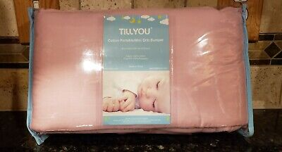 TILLYOU Cotton Collection Nursery Crib Bumper Pads PINK FAST FREE SHIPPING