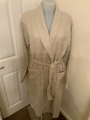 John Lewis Cotton Beige Ribbed Dressing Gown Size M/L New With Tag